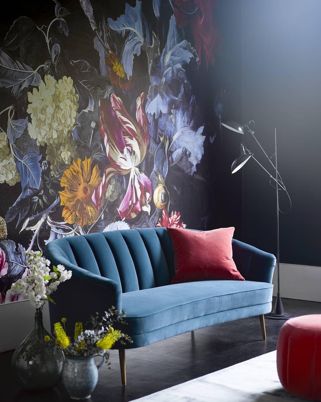 Instagram sofatdotcom 60s bold floral wallpaper velvet sofa