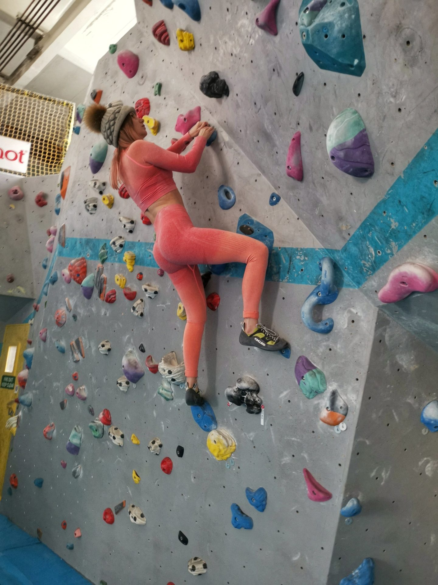 Girl Bouldering Lakeland Climbing Centre - Psychi - Grandiose Days