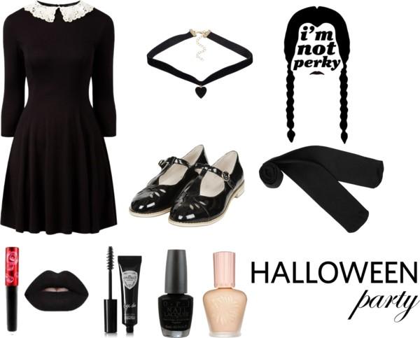 Simple Wednesday Addams Fashion Halloween Mood Board Look