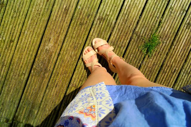 denim dress kimono chunky heels sandals