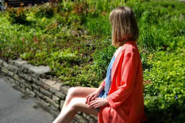 coral duster jacket outfit park