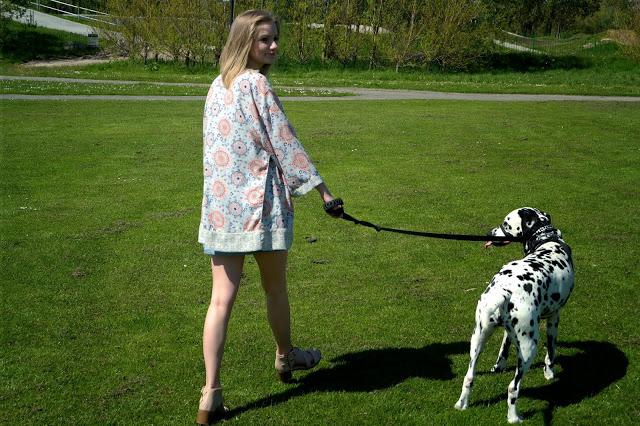 boho pattern kimono chunky heels dog outfit