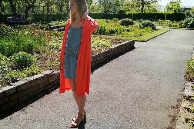 coral duster jacket denim dress city outfit
