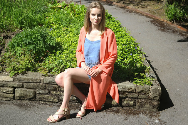 duster jacket city outfit coral denim dress