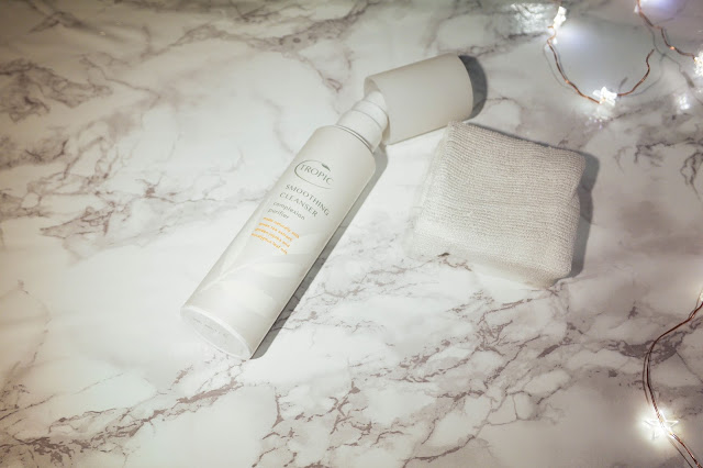 Tropic Skincare Cleanser Review Flat Lay Marble Fairy Lights