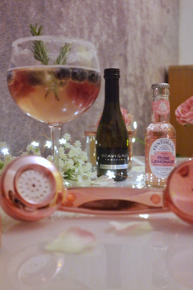 retro rose gold cord telephone fentimans rose lemonade and prosecco