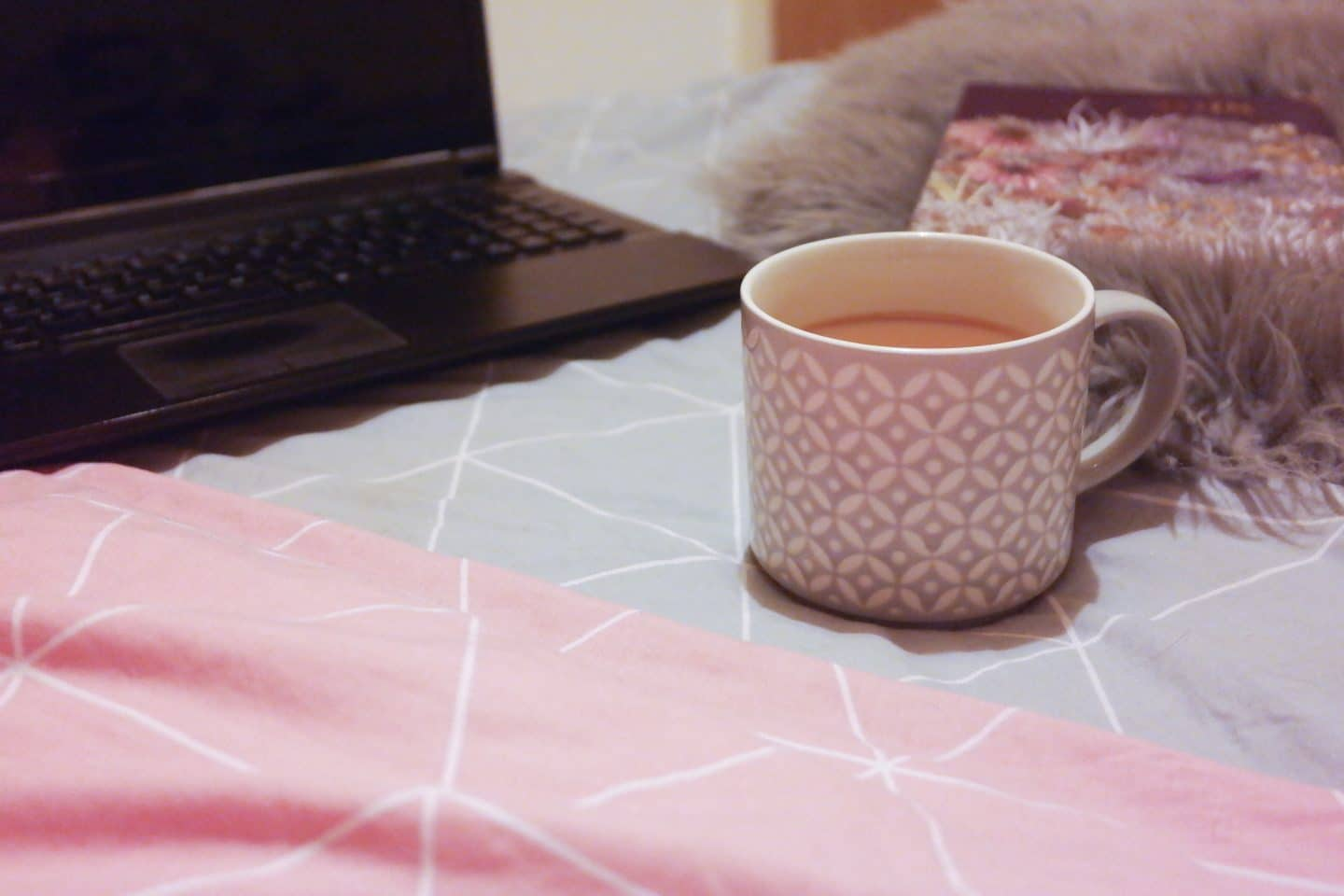 grandiose days blog perfect working environment flatlay laptop tea diary