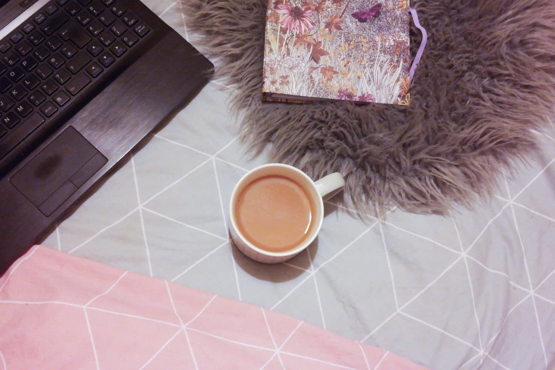 grandiose days blog perfect working environment flatlay laptop tea diary