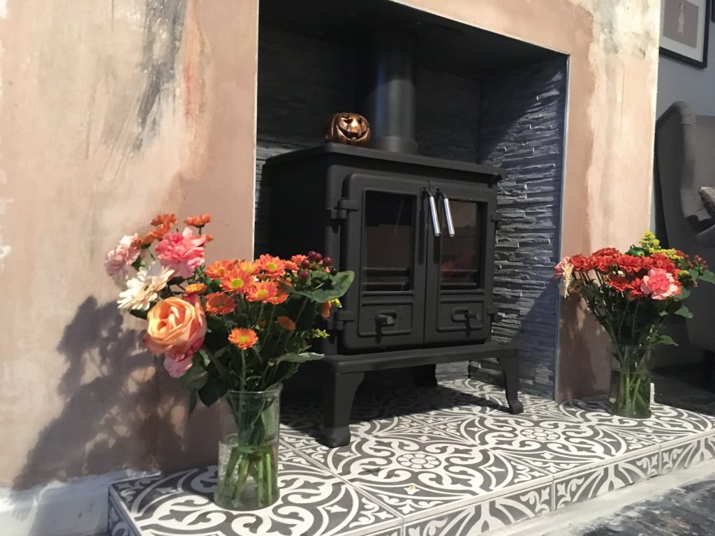 installing log burner - decorating