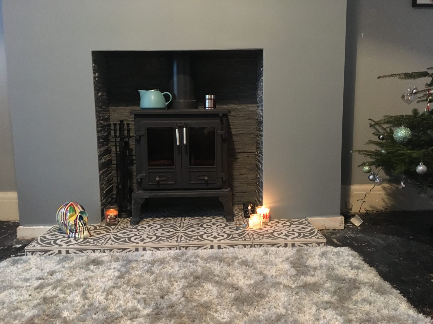 Double Log Burner and Grey Interior - Living Room