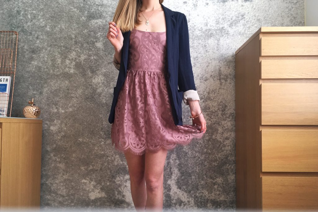 Tobi Clothing grandiose days lace pink dress