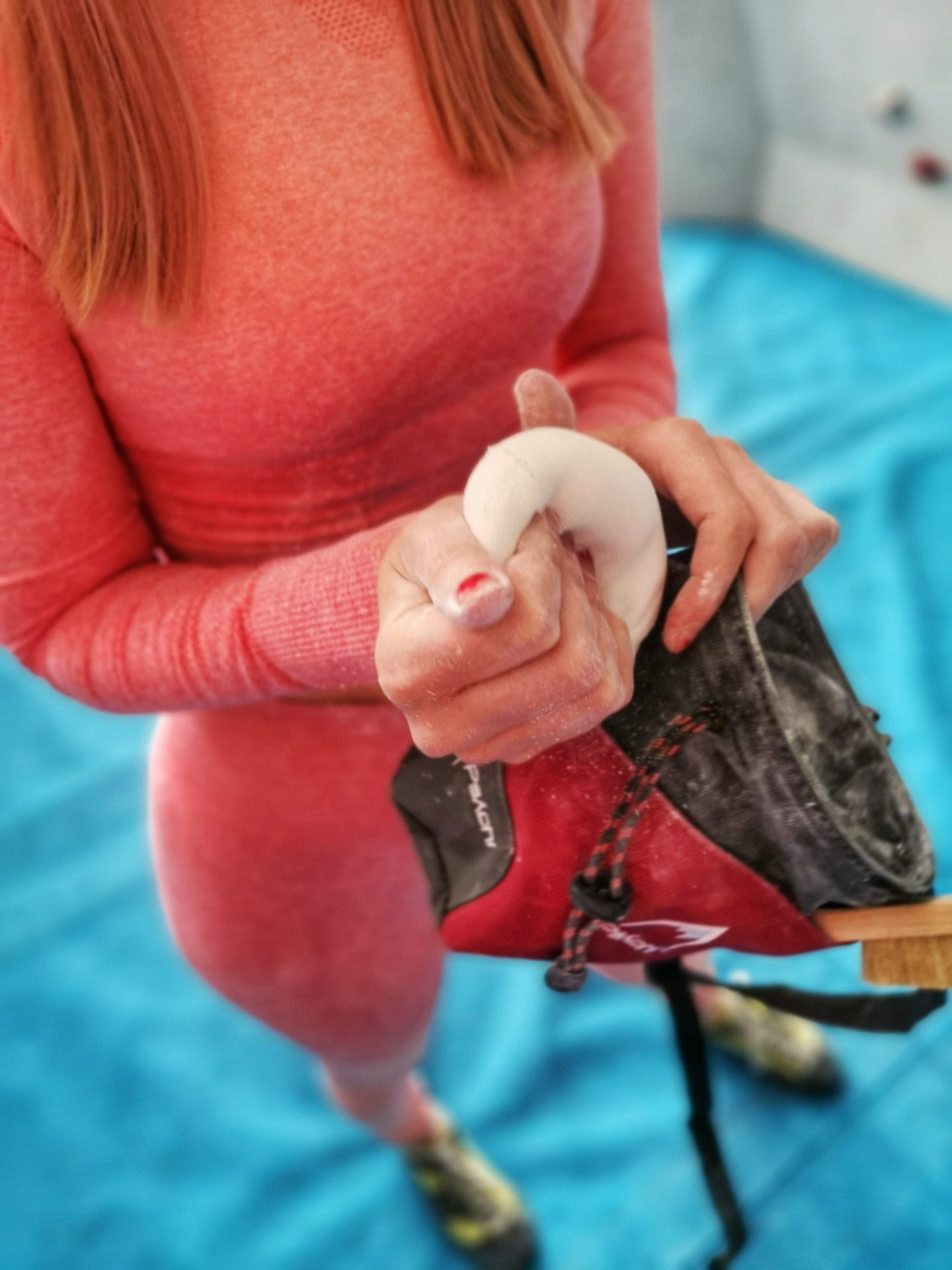 Girl Bouldering Lakeland Climbing Centre - Psychi - Grandiose Days