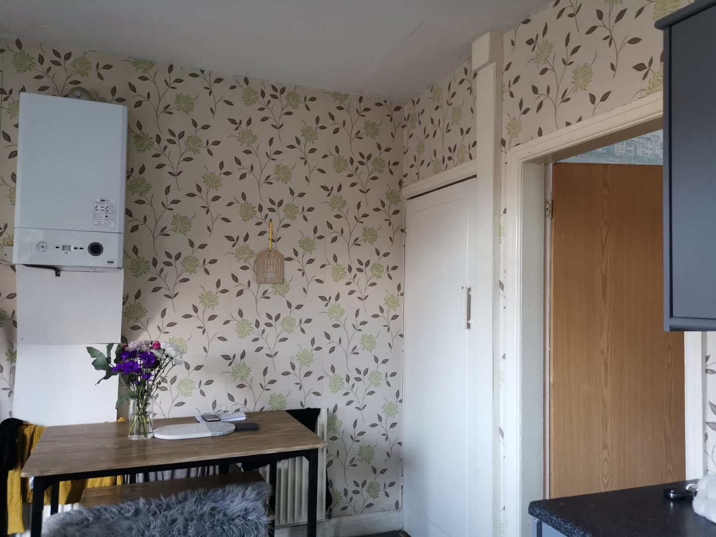 Kitchen Renovation under £250 - Flower Wallpaper and Awkwardly Placed Boiler